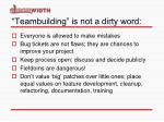 teambuilding is not a dirty word