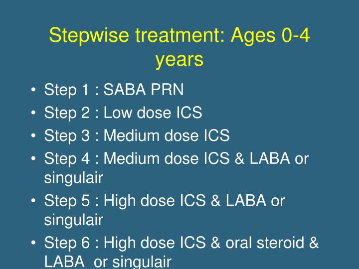 Stepwise treatment: Ages 0-4 years