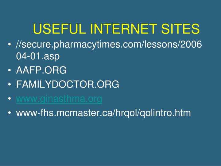 USEFUL INTERNET SITES