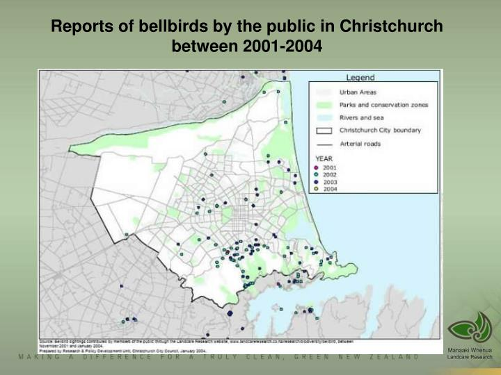 Bellbird observation maps