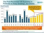 the post recession us economy is forecast to keep growing but slowly