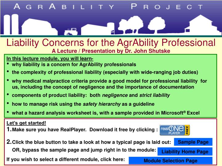 liability concerns for the agrability professional a lecture presentation by dr john shutske n.