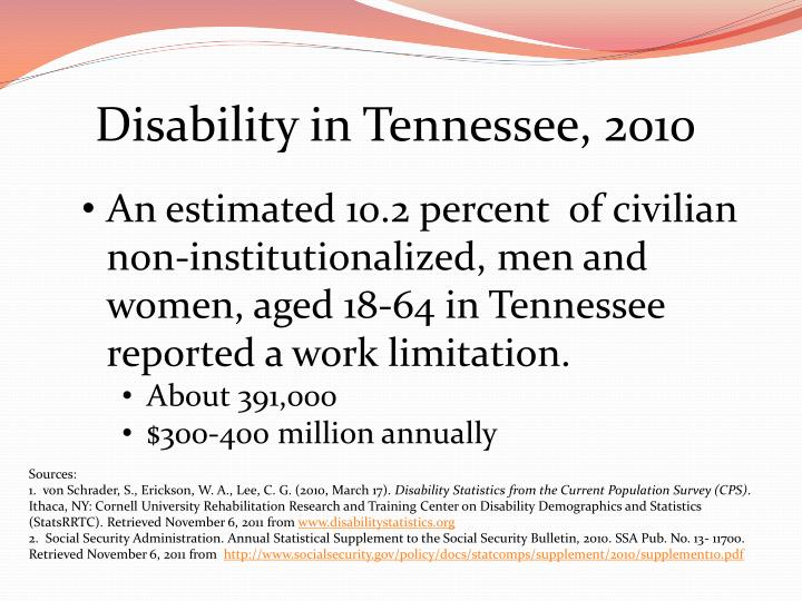 Disability in Tennessee, 2010