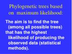 phylogenetic trees based on maximum likelihood