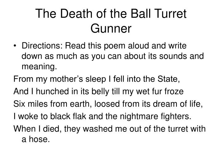 the death of the ball turret gunner poem