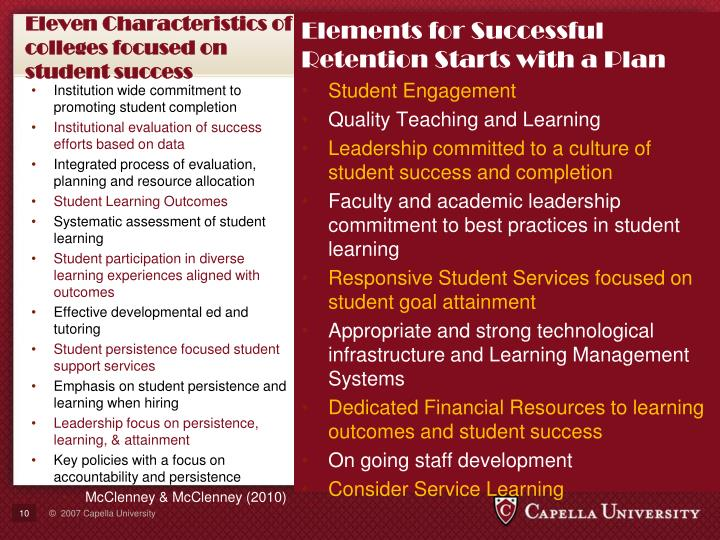Eleven Characteristics of colleges focused on student success