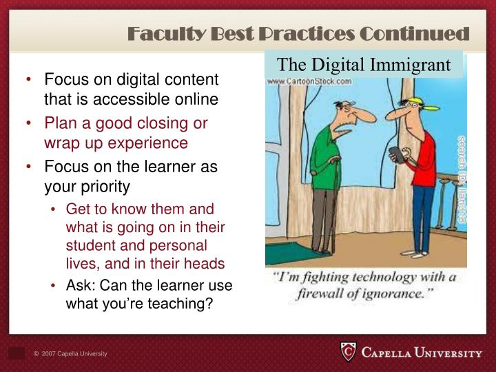 Faculty Best Practices Continued