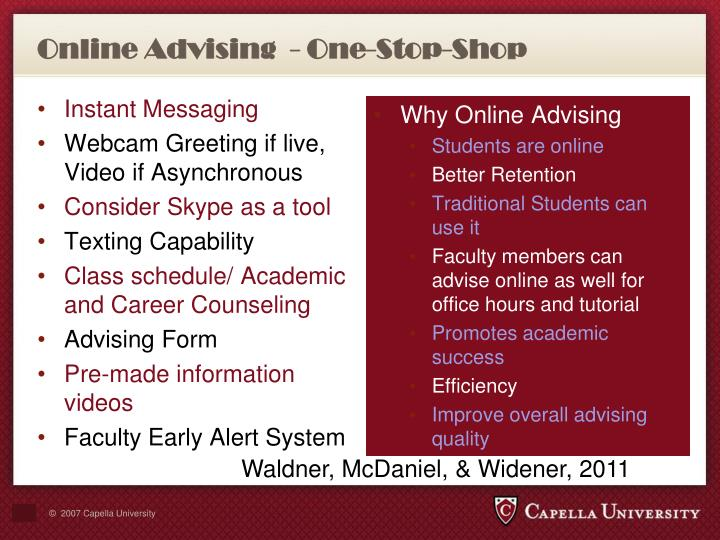 Online Advising  - One-Stop-Shop