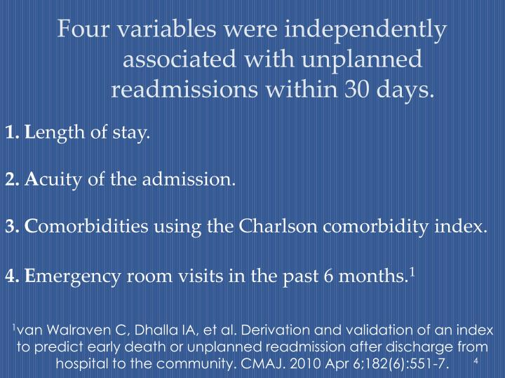 Four variables were independently associated with unplanned readmissions within 30 days.