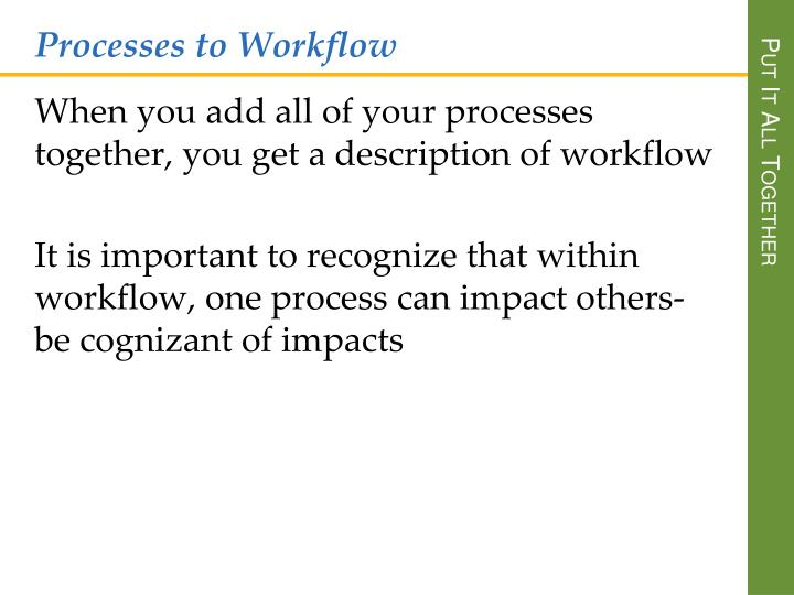 Processes to Workflow