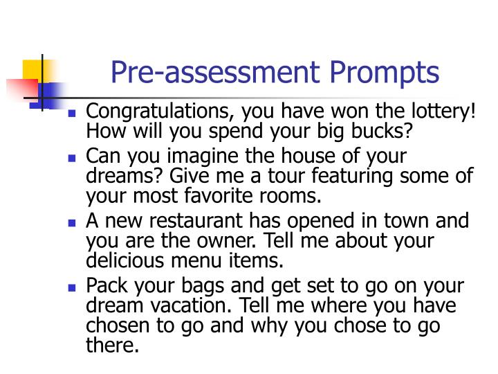 Pre-assessment Prompts