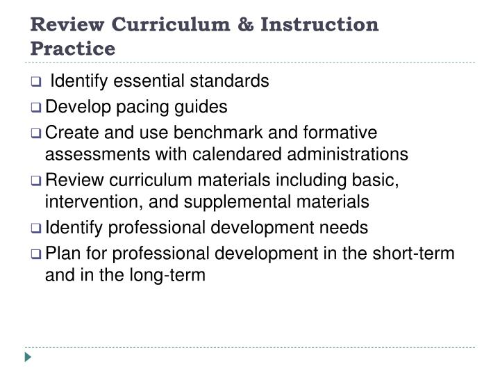 Review Curriculum & Instruction Practice