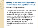 quality assessment and performance improvement plan qapi continued