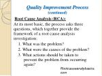 quality improvement process continued