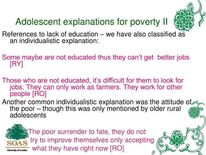 Adolescent explanations for poverty II