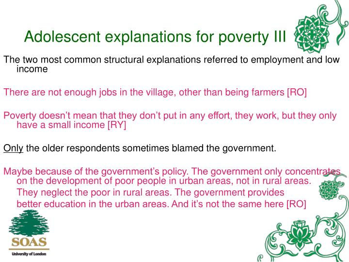 Adolescent explanations for poverty III