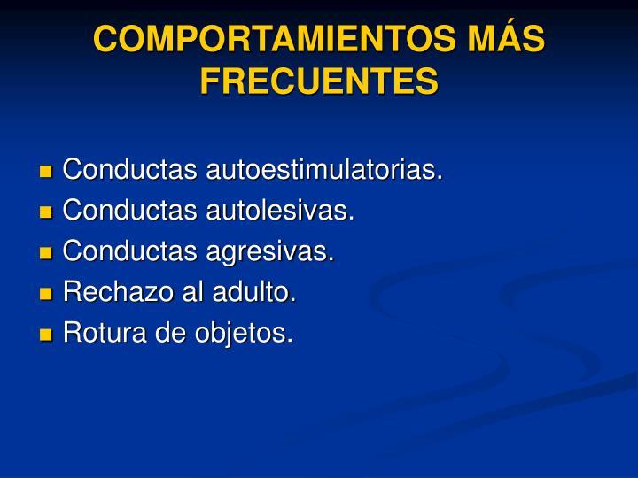 COMPORTAMIENTOS MÁS FRECUENTES