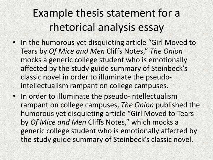 Example Thesis Statement For A Rhetorical Analysis Essay