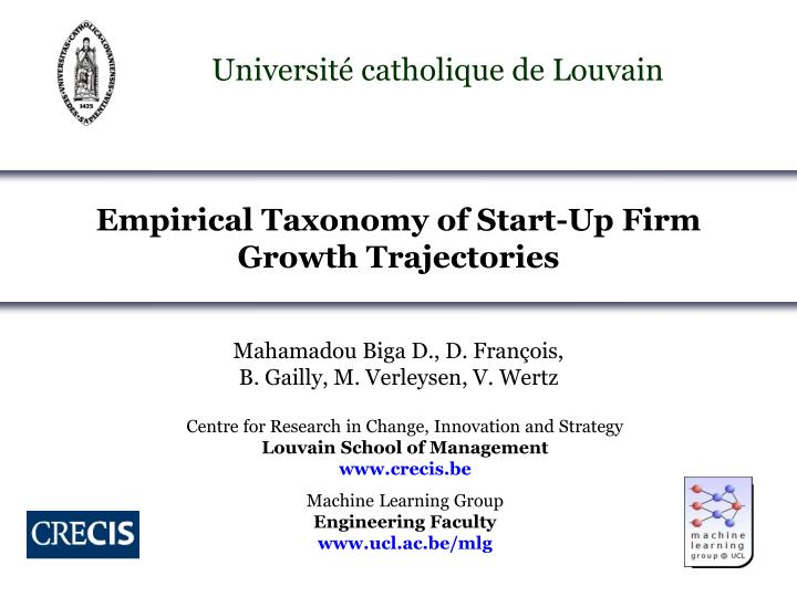 empirical taxonomy of start up firm growth trajectories n.
