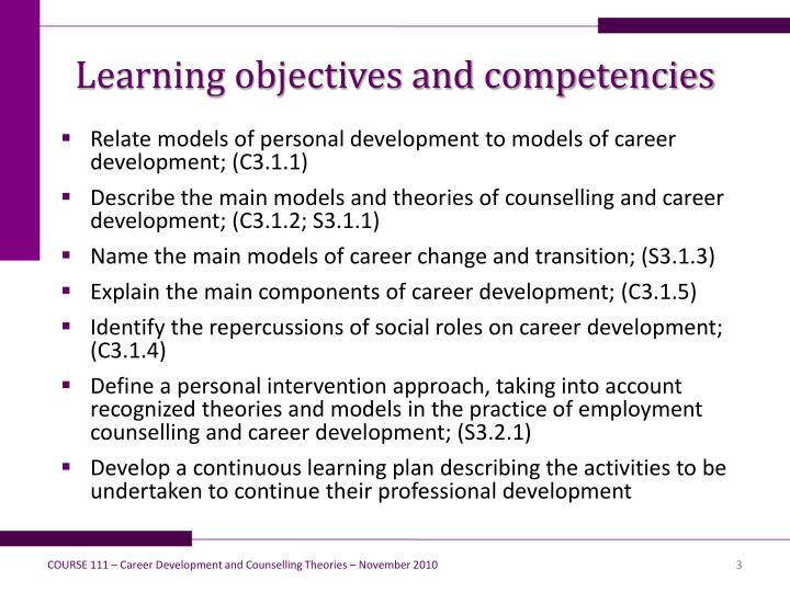 Learning objectives and competencies
