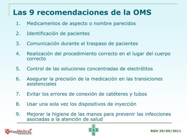 Las 9 recomendaciones de la OMS
