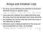 arrays and initializer lists