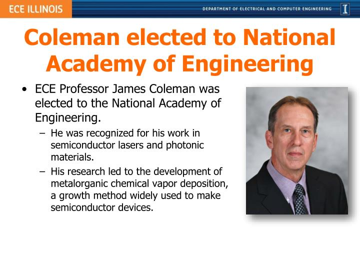Coleman elected to National Academy of Engineering