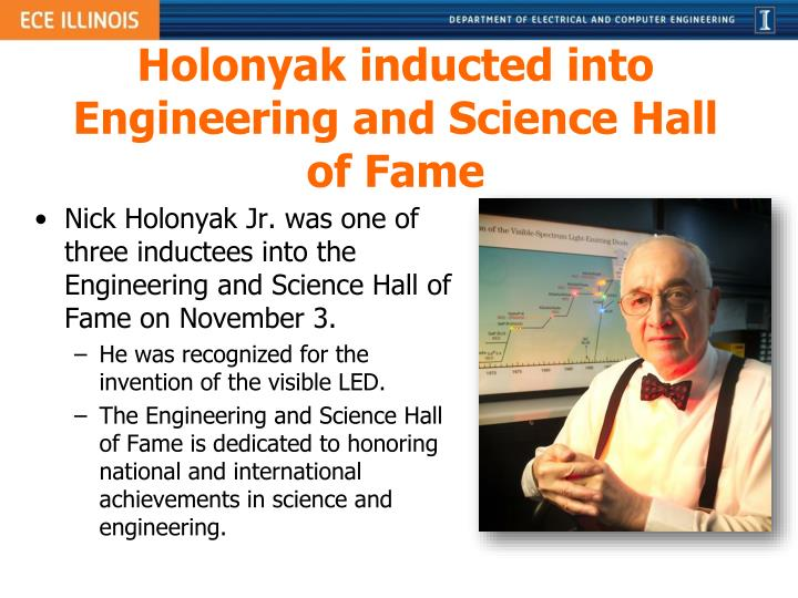 Holonyak inducted into Engineering and Science Hall of