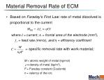 material removal rate of ecm