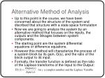 alternative method of analysis