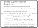linear system transfer functions