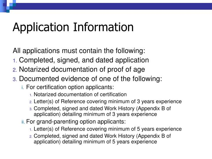 Application Information