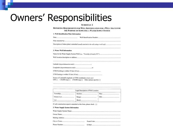 Owners' Responsibilities