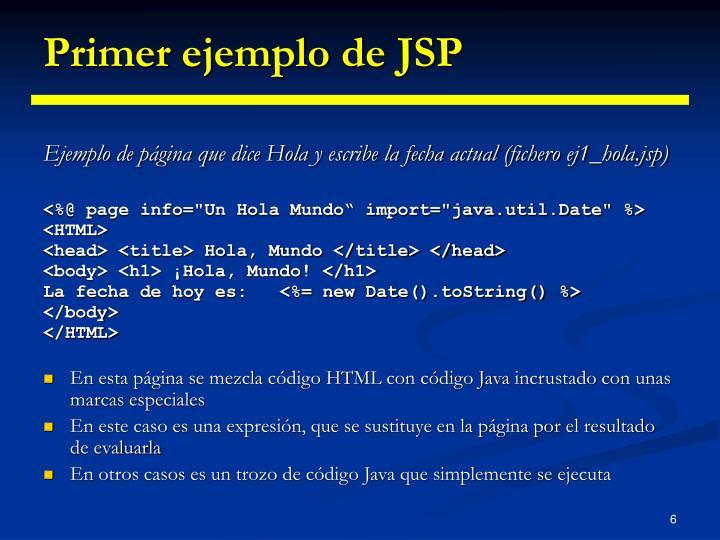 Primer ejemplo de JSP