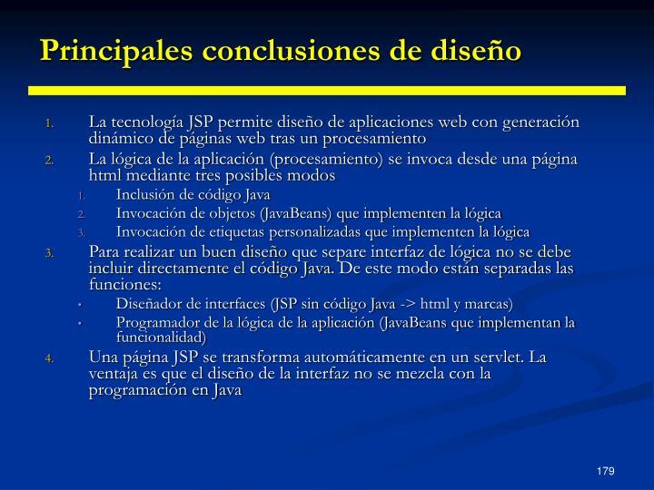 Principales conclusiones de diseño