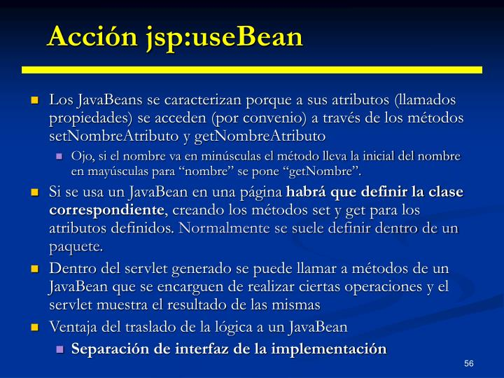 Acción jsp:useBean