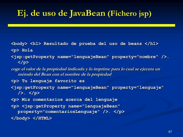 Ej. de uso de JavaBean