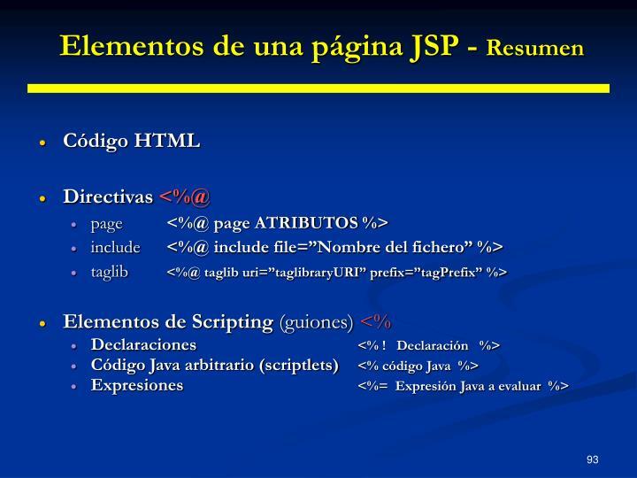 Elementos de una página JSP -