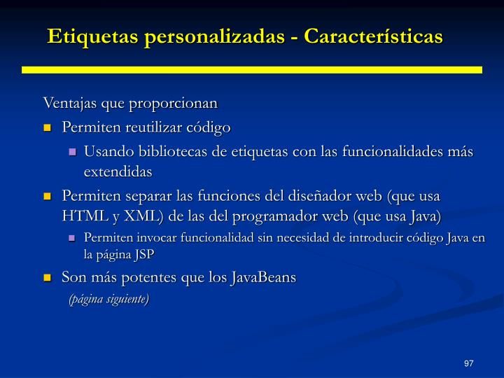 Etiquetas personalizadas - Características