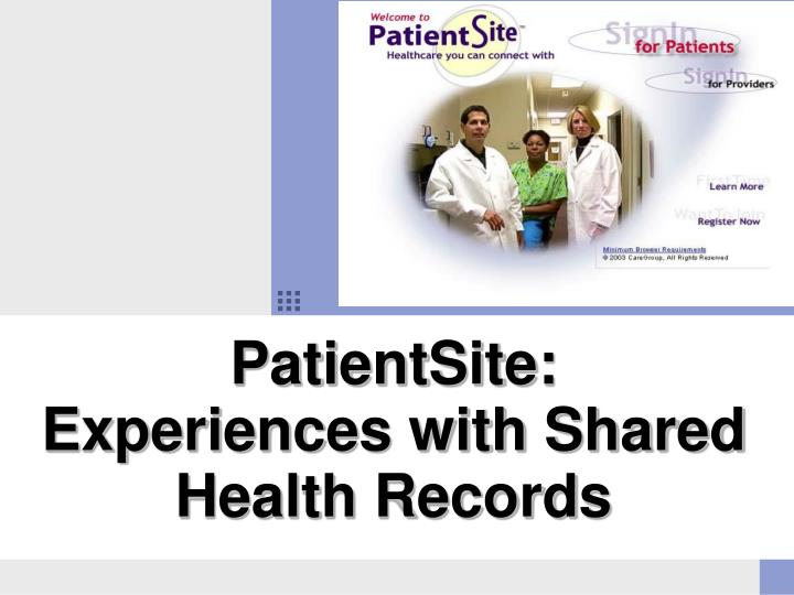 patientsite experiences with shared health records n.