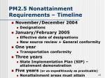 pm2 5 nonattainment requirements timeline