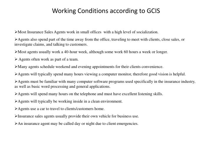 Working Conditions according to GCIS