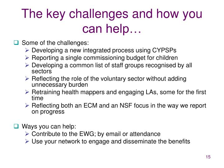 The key challenges and how you can help…
