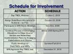 schedule for involvement