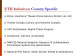etd initiatives country specific