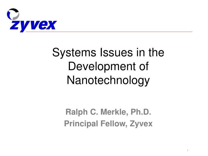 Systems issues in the development of nanotechnology