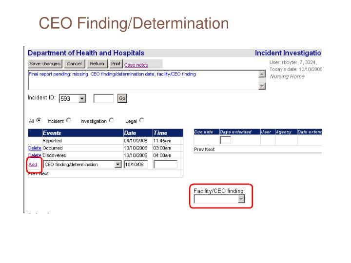 CEO Finding/Determination