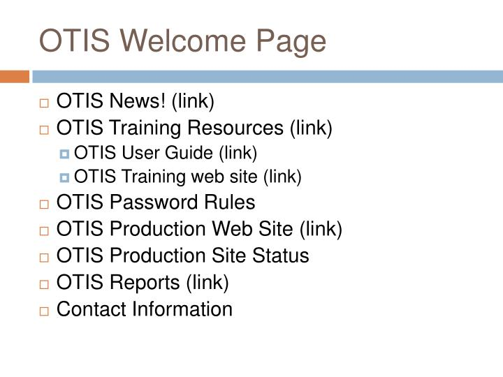 OTIS Welcome Page
