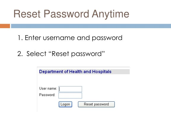 Reset Password Anytime