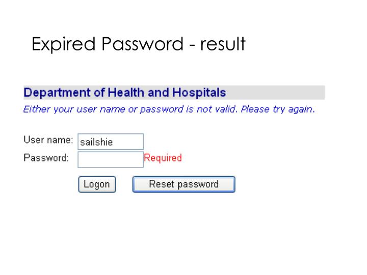Expired Password - result